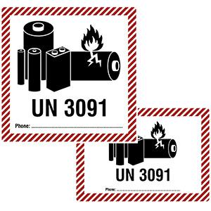 Transportaufkleber für Lithium-Metall-Batterien (UN 3091) mit Telefonnummern-Feld