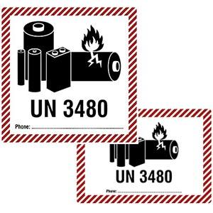 Transportaufkleber für Lithium-Ionen-Batterien / Akku (UN 3480) mit Telefonnummern-Feld