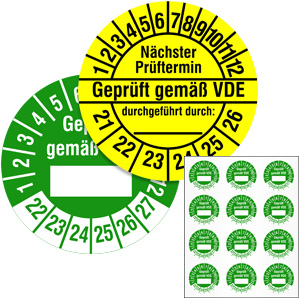Inspection Date Labels: VDE - in Pack