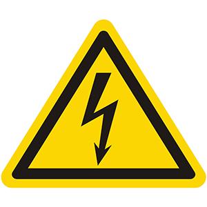 Warnung vor gefährlicher elektrischer Spannung (Blitzpfeil)