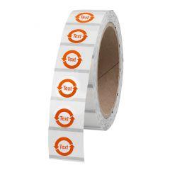 customized China-RoHS labels, polyester, transparent, permanent, translucent-orange, Ø 20.00 mm, 1000 labels