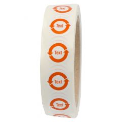 customized China-RoHS labels, polyester, white, permanent, white-orange, Ø 20.00 mm, 1000 labels