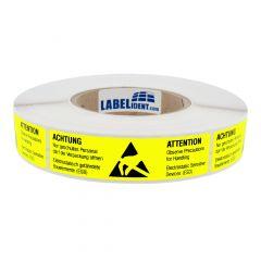 ESD-Warnaufkleber, Papier, gelb-schwarz, 105 x 26 mm, Elektrostatisch gefährdete Bauelemente ESD, 2-sprachig
