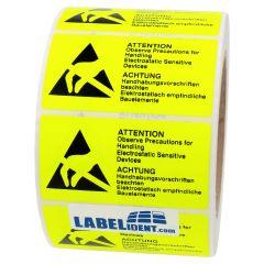 ESD-Warnaufkleber, Papier, gelb-schwarz, 75 x 40 mm, ESD Etiketten, Achtung Handhabungsvorschriften beachten