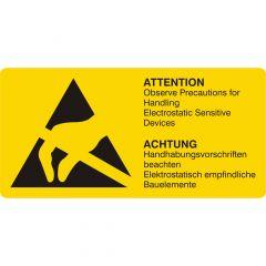 ESD-Warnaufkleber, Vinyl, gelb-schwarz, 74 x 37 mm, ESD Etiketten, Achtung Handhabungsvorschriften beachten