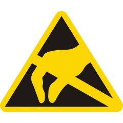 ESD Etiketten, Warnung Elektronisch gefährdete Bauelemente, ESD-Warnaufkleber, Vinyl, gelb-schwarz, Seitenlänge: 25 mm