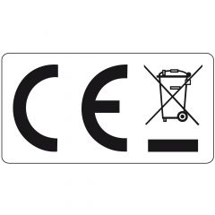 Elektrogeräte-Kennzeichen, Polyester, weiß-schwarz, 25 x 13 mm, WEEE/CE konform, 1000 Etiketten