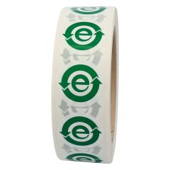 electronic equipment labels, polyester, white-green, Ø 30 mm, EFUP e, 1000 labels