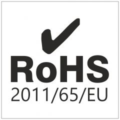 electronic equipment labels, polyester, white-black, 6.35 x 6.35 mm, Rohs 2011/65/EU, 1000 labels