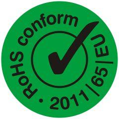 electronic equipment labels, PVC/vinyl, green-black, Ø 10 mm, Rohs conform 2011/65/EU, 1000 labels
