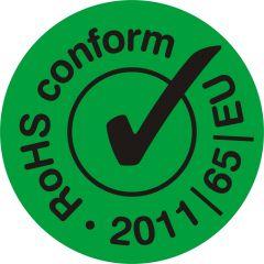 electronic equipment labels, PVC/vinyl, green-black, Ø 10 mm, Rohs conform 2011/65/EU, 10000 labels