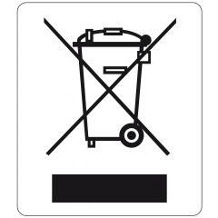 Elektrogeräte-Kennzeichen, Polyester, weiß-schwarz, 11 x 13 mm, Kennzeichnung von Elektronikgeräten, 1000 Etiketten