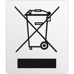 Elektrogeräte-Kennzeichen, Polyester, silber-schwarz, 11 x 13 mm, Kennzeichnung von Elektronikgeräten, 1000 Etiketten
