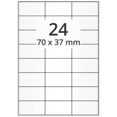 Inkjet Etiketten, DIN A4 Bogen, Papier, permanent, hochglänzend, weiß, bes., 70 x 37 mm, 100 Blatt, 2400 Etikett(en)