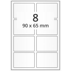 Inkjet Etiketten, DIN A4 Bogen, Papier, permanent, hochglänzend, weiß, bes., 90 x 65 mm, 100 Blatt, 800 Etikett(en)