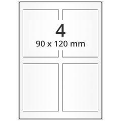 Inkjet Etiketten, DIN A4 Bogen, Papier, permanent, hochglänzend, weiß, bes., 90 x 120 mm, 100 Blatt, 400 Etikett(en)