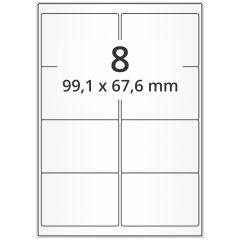 Inkjet Etiketten, DIN A4 Bogen, Papier, permanent, hochglänzend, weiß, bes., 99,1 x 67,6 mm, 100 Blatt, 800 Etikett(en)