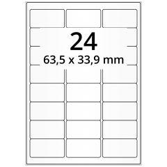 Tiefkühletiketten, Papier, Spezialklebstoff (Tiefkühlanwendung), matt, weiß, unbes., 63,5 x 33,9 mm, 100 Blatt, 2400 Etikett(en)
