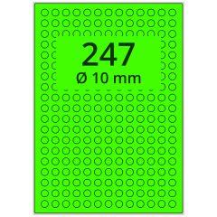 sw/fbg Laser Etiketten, DIN A4 Bogen, Papier, leucht grün, permanent klebend, matt, Ø 10 mm, 24700 Etikett(en) auf 100 Blatt