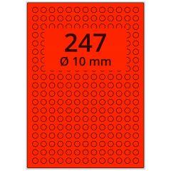 sw/fbg Laser Etiketten, DIN A4 Bogen, Papier, leucht rot, permanent klebend, matt, Ø 10 mm, 24700 Etikett(en) auf 100 Blatt