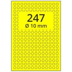 Laser Etiketten, DIN A4 Bogen, Papier, leuchtgelb, permanent klebend, matt, Ø 10 mm, 24700 Etikett(en) auf 100 Blatt