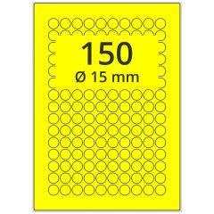 sw/fbg Laser Etiketten, DIN A4 Bogen, Papier, leuchtgelb, permanent klebend, matt, Ø 15 mm, 15000 Etikett(en) auf 100 Blatt