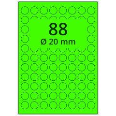 Laser Etiketten, DIN A4 Bogen, Papier, leucht grün, permanent klebend, matt, Ø 20 mm, 8800 Etikett(en) auf 100 Blatt
