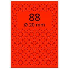 Laser Etiketten, DIN A4 Bogen, Papier, leucht rot, permanent klebend, matt, Ø 20 mm, 8800 Etikett(en) auf 100 Blatt