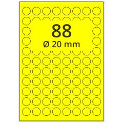 Laser Etiketten, DIN A4 Bogen, Papier, leuchtgelb, permanent klebend, matt, Ø 20 mm, 8800 Etikett(en) auf 100 Blatt