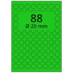 LASER Etiketten, DIN A4 Bogen, Papier, ablösbar, matt, grün, Ø 20 mm, 100 Blatt, 8800 Etikett(en)
