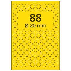 LASER Etiketten, DIN A4 Bogen, Papier, ablösbar, matt, gelb, Ø 20 mm, 100 Blatt, 8800 Etikett(en)
