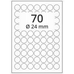 LASER Etiketten, DIN A4 Bogen, Papier, ablösbar, matt, weiß, unbes., Ø 24 mm, 100 Blatt, 7000 Etikett(en)