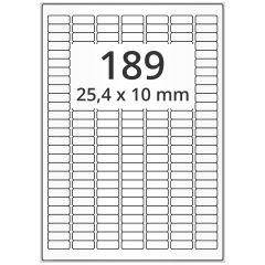 LASER Etiketten, DIN A4 Bogen, Papier, ablösbar, matt, weiß, unbes., 25,4 x 10 mm, 100 Blatt, 18900 Etikett(en)