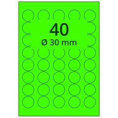 Laser Etiketten, DIN A4 Bogen, Papier, leucht grün, permanent klebend, matt, Ø 30 mm, 4000 Etikett(en) auf 100 Blatt