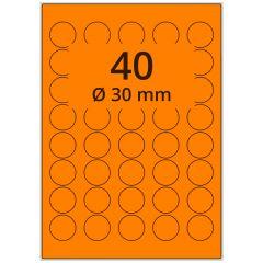 Laser Etiketten, DIN A4 Bogen, Papier, leucht orange, permanent klebend, matt, Ø 30 mm, 4000 Etikett(en) auf 100 Blatt