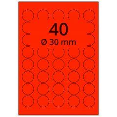 Laser Etiketten, DIN A4 Bogen, Papier, leucht rot, permanent klebend, matt, Ø 30 mm, 4000 Etikett(en) auf 100 Blatt