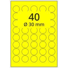 Laser Etiketten, DIN A4 Bogen, Papier, leuchtgelb, permanent klebend, matt, Ø 30 mm, 4000 Etikett(en) auf 100 Blatt