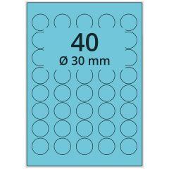 LASER Etiketten, DIN A4 Bogen, Papier, ablösbar, matt, blau, Ø 30 mm, 100 Blatt, 4000 Etikett(en)