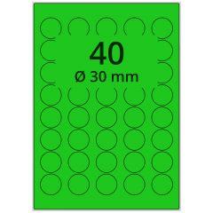 LASER Etiketten, DIN A4 Bogen, Papier, ablösbar, matt, grün, Ø 30 mm, 100 Blatt, 4000 Etikett(en)