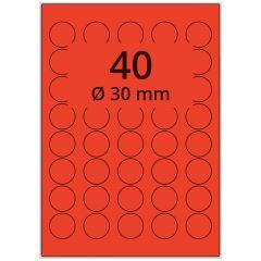 LASER Etiketten, DIN A4 Bogen, Papier, ablösbar, matt, rot, Ø 30 mm, 100 Blatt, 4000 Etikett(en)