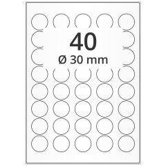 LASER Etiketten, DIN A4 Bogen, Papier, ablösbar, matt, weiß, unbes., Ø 30 mm, 100 Blatt, 4000 Etikett(en)