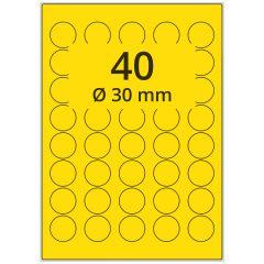 LASER Etiketten, DIN A4 Bogen, Papier, ablösbar, matt, gelb, Ø 30 mm, 100 Blatt, 4000 Etikett(en)