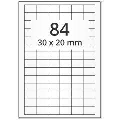 LASER Etiketten, DIN A4 Bogen, Papier, ablösbar, matt, weiß, unbes., 30 x 20 mm, 100 Blatt, 8400 Etikett(en)