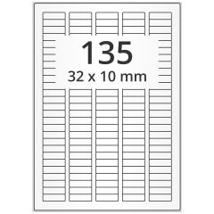 LASER Etiketten, DIN A4 Bogen, Papier, ablösbar, matt, weiß, unbes., 32 x 10 mm, 100 Blatt, 13500 Etikett(en)
