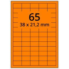 Laser Etiketten, DIN A4 Bogen, Papier, leucht orange, permanent klebend, matt, 38 x 21,2 mm, 6500 Etikett(en) auf 100 Blatt