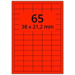 Laser Etiketten, DIN A4 Bogen, Papier, leucht rot, permanent klebend, matt, 38 x 21,2 mm, 6500 Etikett(en) auf 100 Blatt