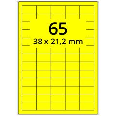 Laser Etiketten, DIN A4 Bogen, Papier, leuchtgelb, permanent klebend, matt, 38 x 21,2 mm, 6500 Etikett(en) auf 100 Blatt