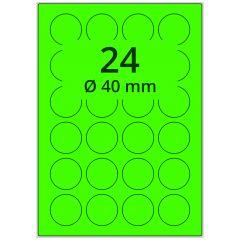 sw/fbg Laser Etiketten, DIN A4 Bogen, Papier, leucht grün, permanent klebend, matt, Ø 40 mm, 2400 Etikett(en) auf 100 Blatt