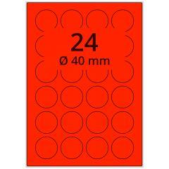 sw/fbg Laser Etiketten, DIN A4 Bogen, Papier, leucht rot, permanent klebend, matt, Ø 40 mm, 2400 Etikett(en) auf 100 Blatt