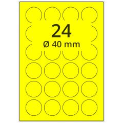 sw/fbg Laser Etiketten, DIN A4 Bogen, Papier, leuchtgelb, permanent klebend, matt, Ø 40 mm, 2400 Etikett(en) auf 100 Blatt